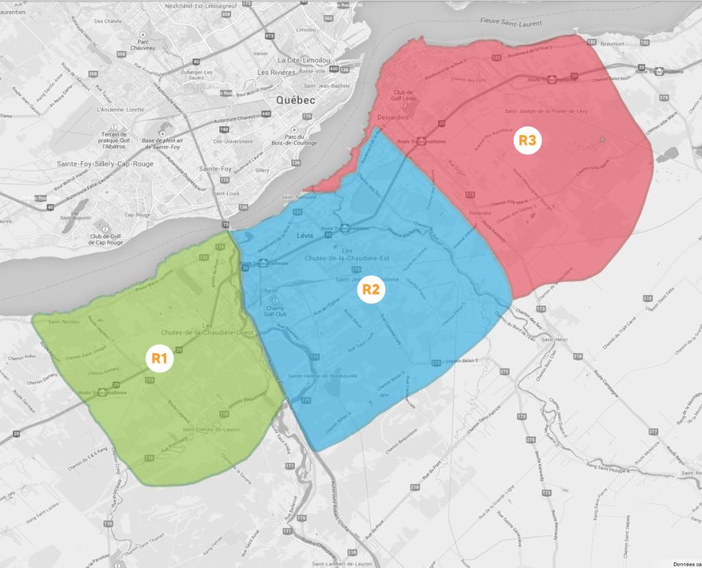 Carte région Lévis